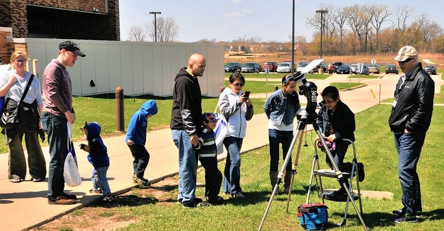 Star fans observe the sun with experts from the Lake County Astronomical Society at the organization's 2016 Astronomy Day events.
