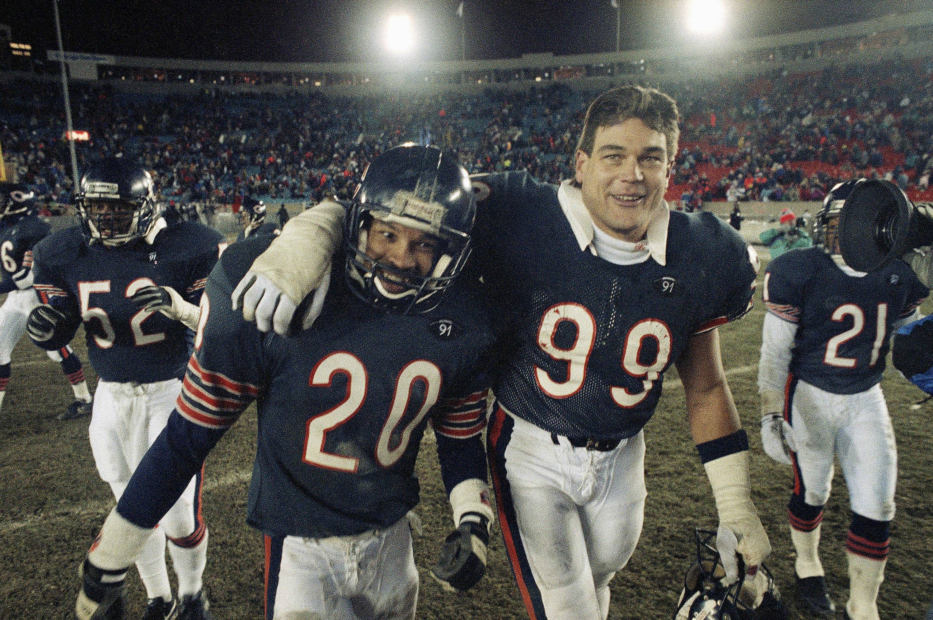 Bears safety Mark Carrier celebrates with teammate Dan Hampton, right after NFC wild-card game victory over the New Orleans Saints in in January 1991. Carrier was ecstatic when he found out Chuck Pagano, his former coaching colleague with the Baltimore Ravens, was named Chicago's new defensive coordinator.