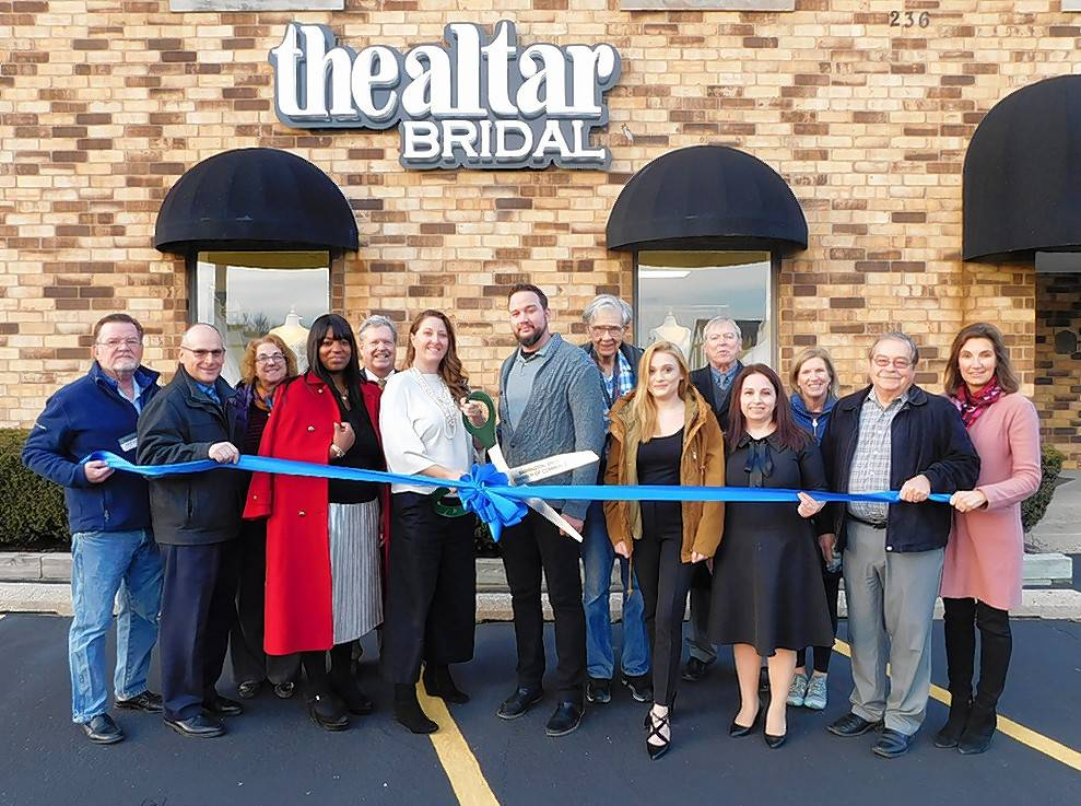 The Barrington Area Chamber of Commerce and the Village of Barrington recently gathered for a ribbon cutting to celebrate the grand opening of The Altar Bridal, 236 W. Northwest Hwy. in Barrington. After much success with two locations in Denver, CO, The Altar Bridal has proudly opened its third location in Barrington.