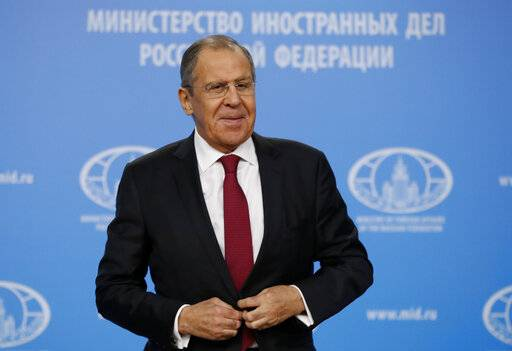 Russian Foreign Minister Sergey Lavrov speaks about his department's 2018 accomplishments during his annual roundup news conference in Moscow, Russia, Wednesday, Jan. 16, 2019. (AP Photo/Pavel Golovkin)