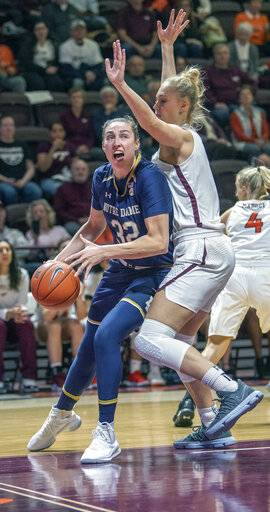 Notre Dame forward Jessica Shepard (32) drives against Virginia Tech forward Regan Magarity during the first half of an NCAA college basketball game Wednesday Jan. 16, 2019, in Blacksburg, Va. (AP Photo/Don Petersen)