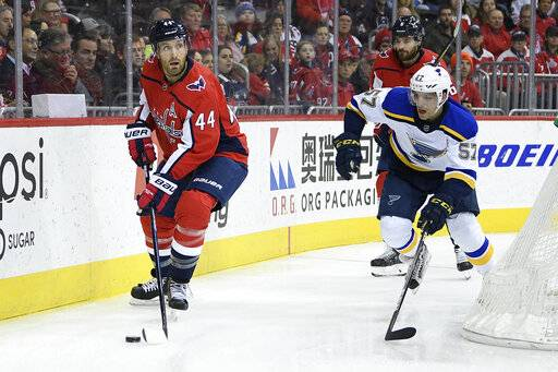 Washington Capitals defenseman Brooks Orpik (44) skates with the puck against St. Louis Blues left wing David Perron (57) during the first period of an NHL hockey game, Monday, Jan. 14, 2019, in Washington. Orpik played in his 1,000th NHL game tonight. The Blues won 4-1. (AP Photo/Nick Wass)