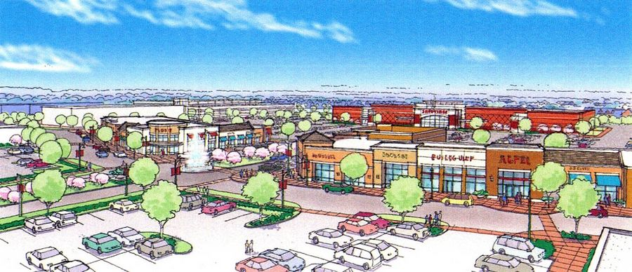 "This 2004 rendering shows what Naperville Crossings at 95th Street and Route 59 was envisioned to look like, but some in Naperville say vacant lots and storefronts have prevented it from attaining its potential as a ""second downtown"" for the city."