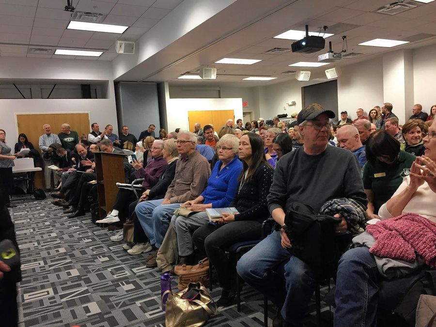 An estimated 300 people attended a public hearing Wednesday for a 760-acre development proposed in Sugar Grove at I-88 and Route 47. It would be mostly business use, such as warehouses, with some stores, apartments and houses.