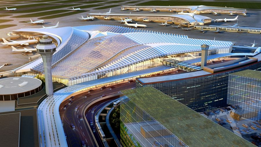 This design for the new O'Hare Global Terminal is from the architectural firm Studio ORD Joint Venture Partners. Voting is open on five proposals through Jan. 23.