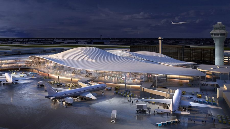 This design for the new O'Hare Global Terminal is from the architectural firm Fentress-Exp-Brook-Garza Joint Venture Partners.
