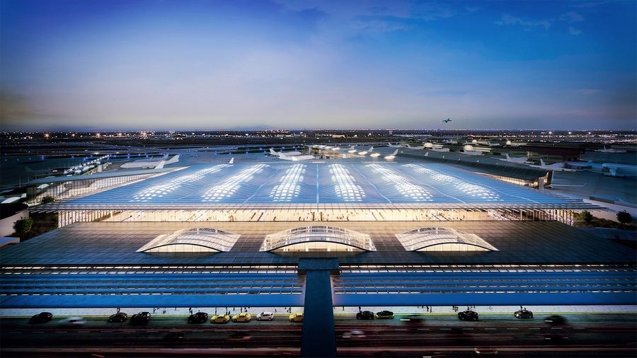 This design for the new O'Hare Global Terminal is from the architectural firm Skidmore Owings and Merrill. Voting is open on five proposals through Jan. 23.