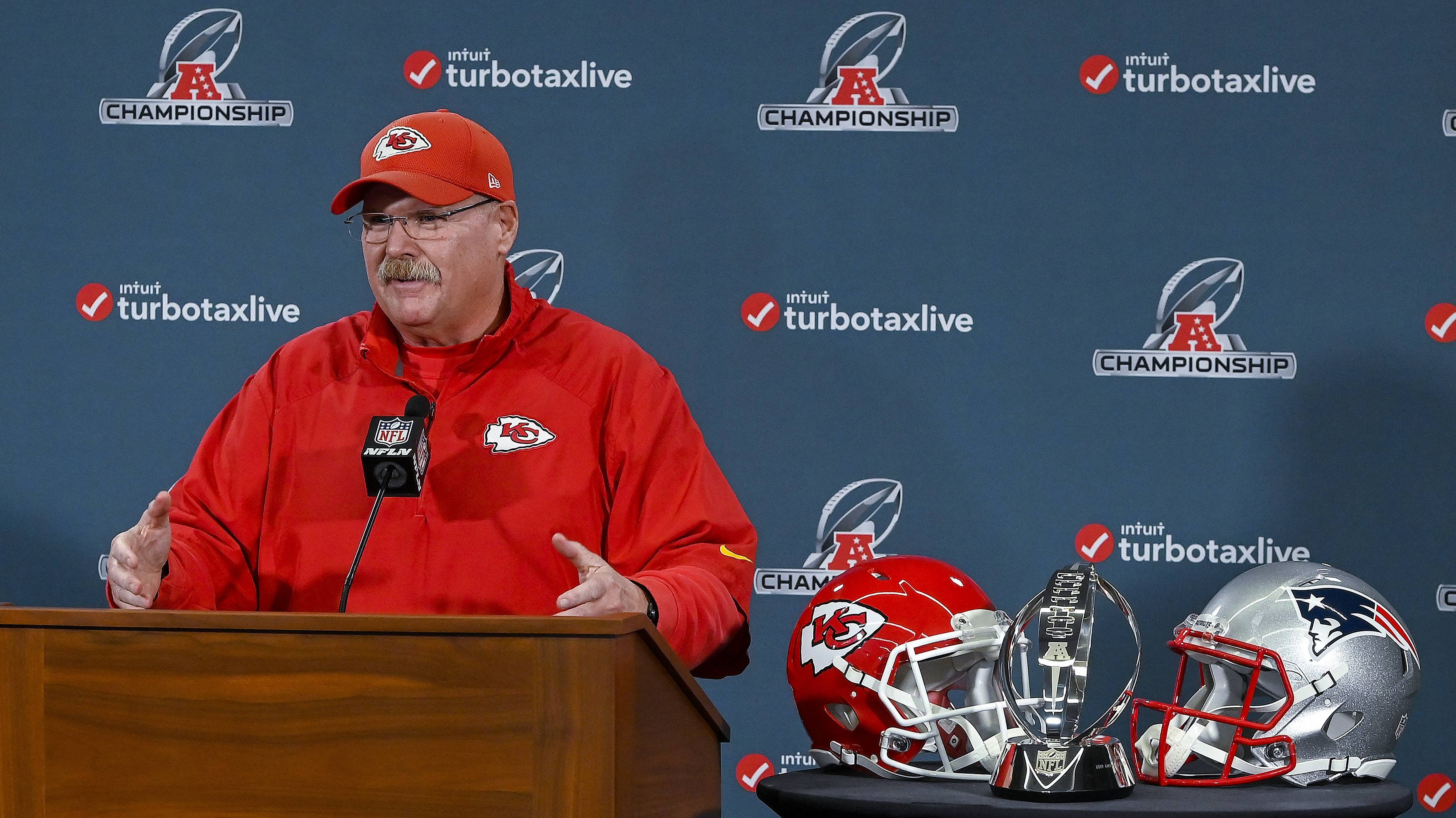 Kansas City Chiefs coach Andy Reid speaks Wednesday during a news conference in Kansas City, Mo. The Chiefs are scheduled to play the New England Patriots for the NFL football AFC championship Sunday.
