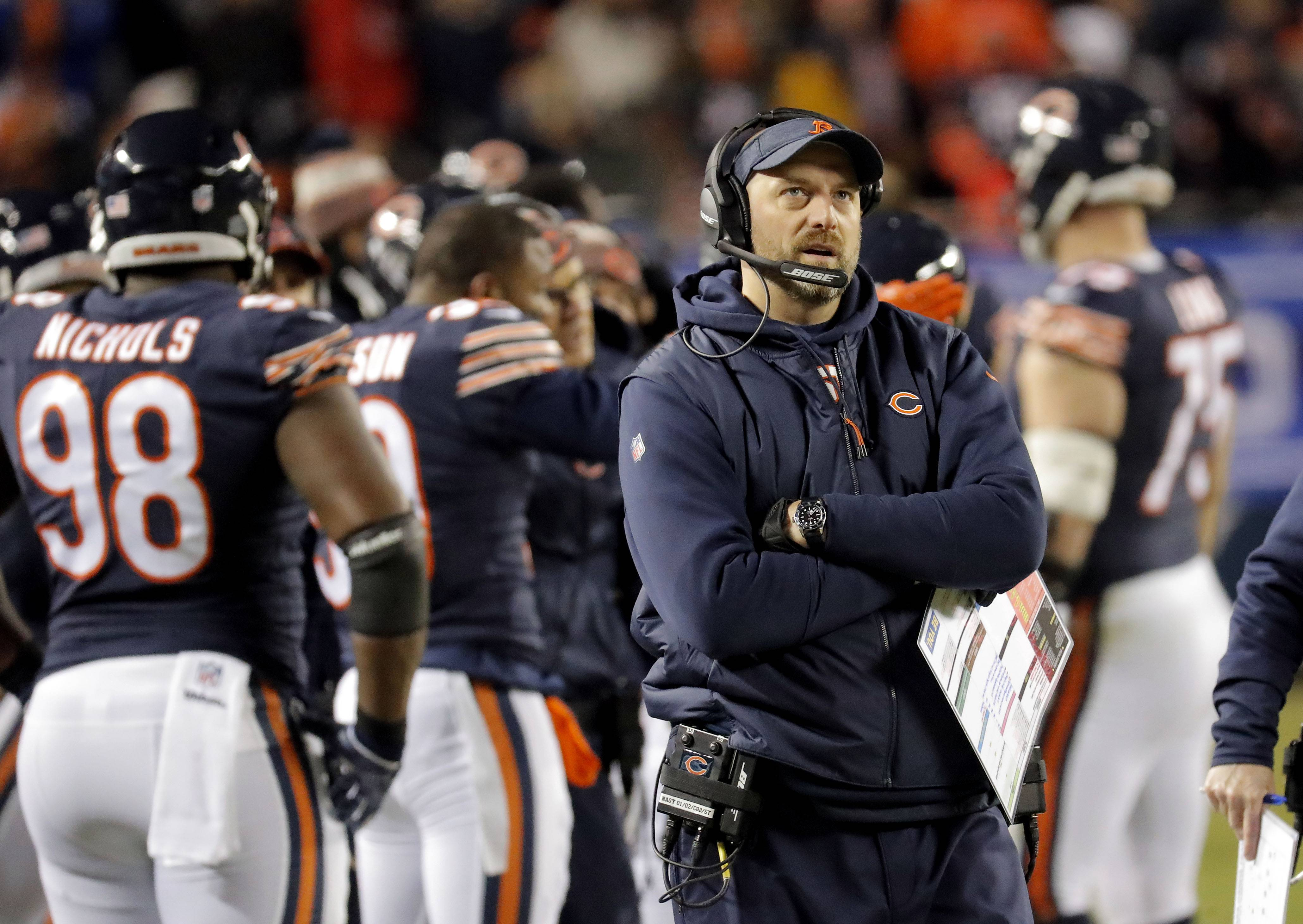 Bears coach Matt Nagy, shown here during the Bears loss to the Eagles in the NFC wild card game, was named NFL Coach of the Year by the Pro Football Writers of America.