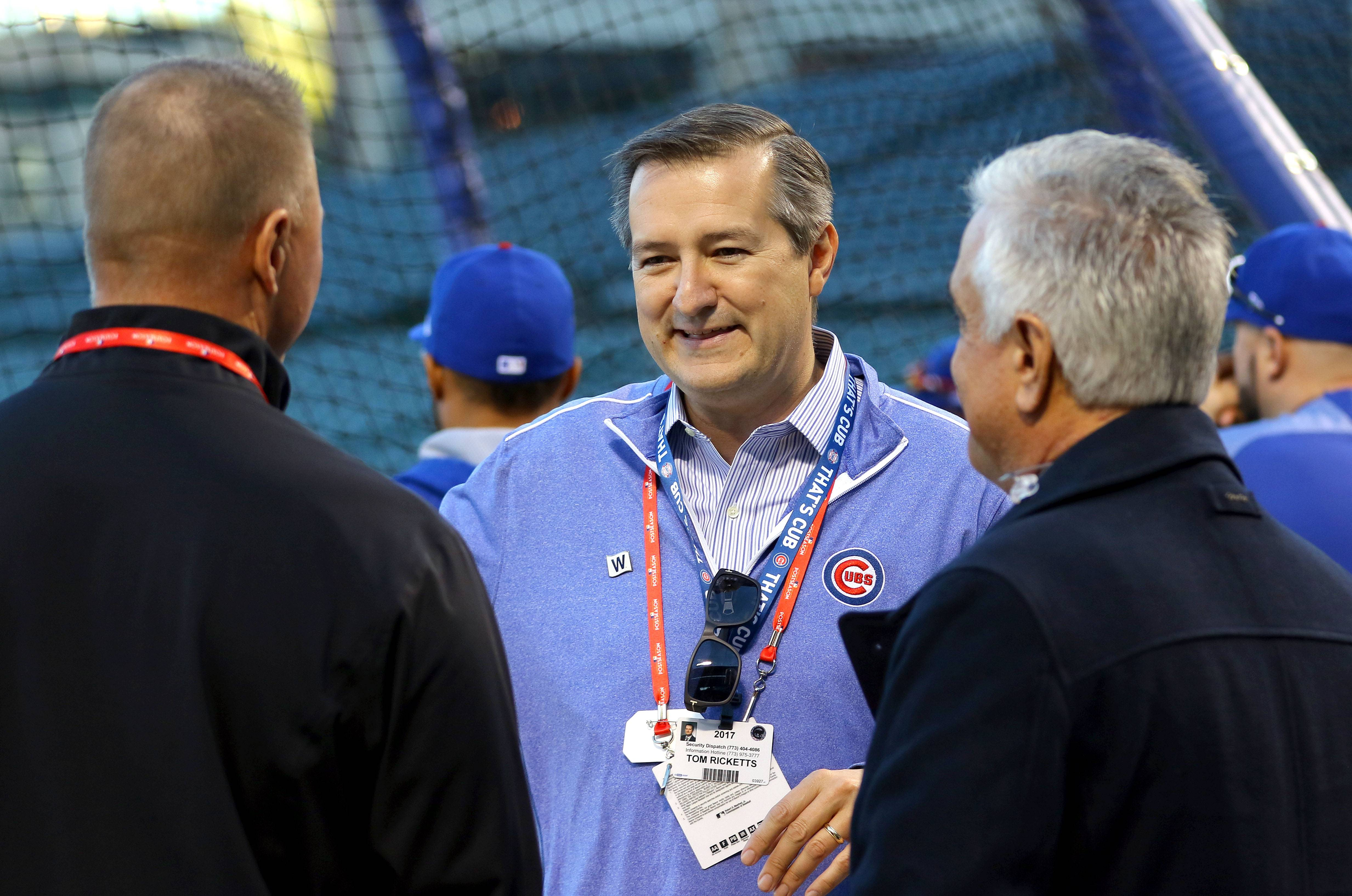 Cubs chairman Tom Ricketts, here before Game 3 of the National League championship series in 2017 at Wrigley Field, made the rounds of talk radio Thursday to discuss many topics.
