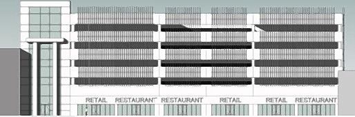 A rendering of the east facade of the six-story, approximately $30 million parking deck Schaumburg officials are considering to serve both the Schaumburg Convention Center and new businesses that would join a planned entertainment district near it.