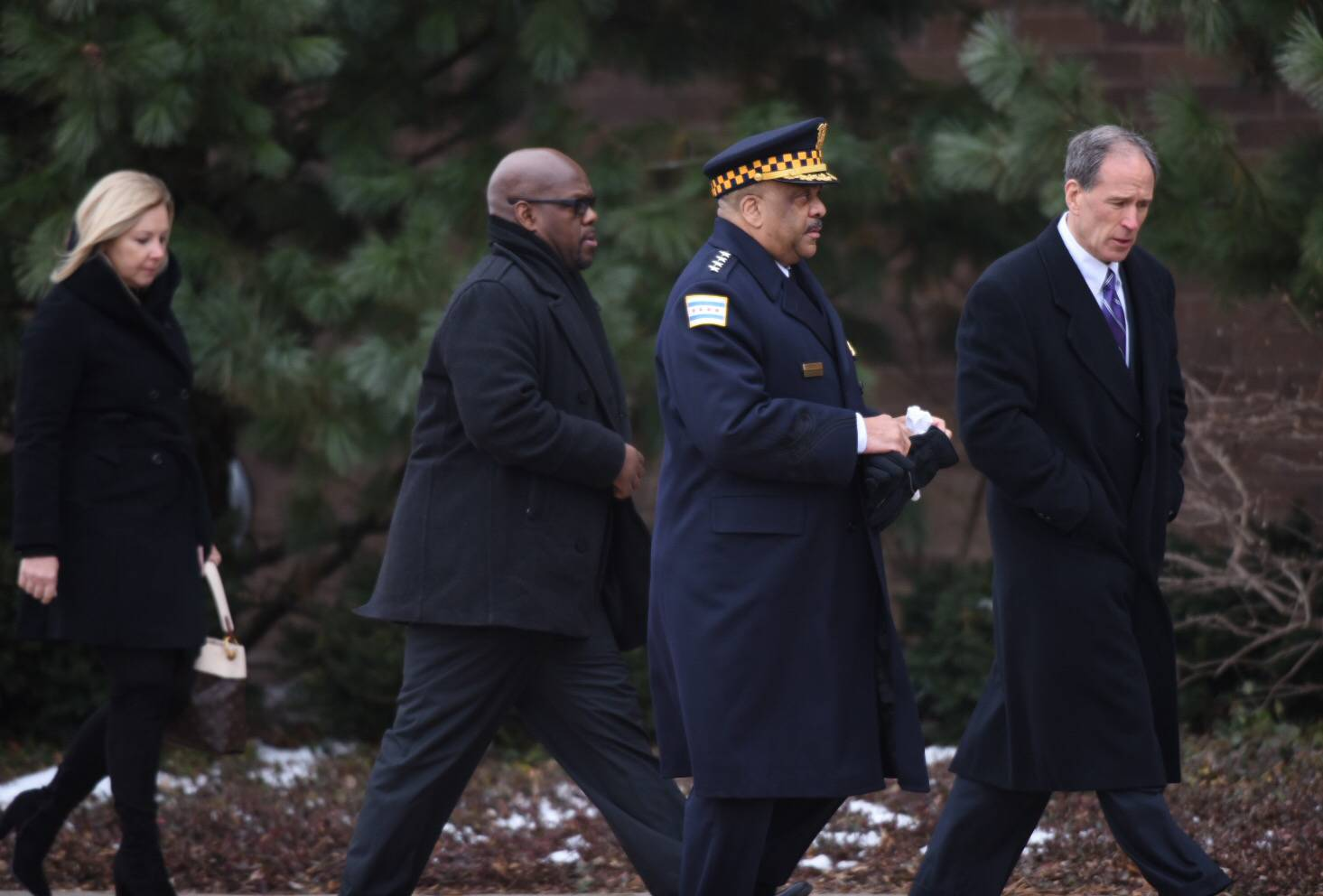 Chicago police Superintendent Eddie Johnson arrives Friday morning at the funeral for Illinois State Police Trooper Christopher Lambert at Willow Creek Community Church in South Barrington.