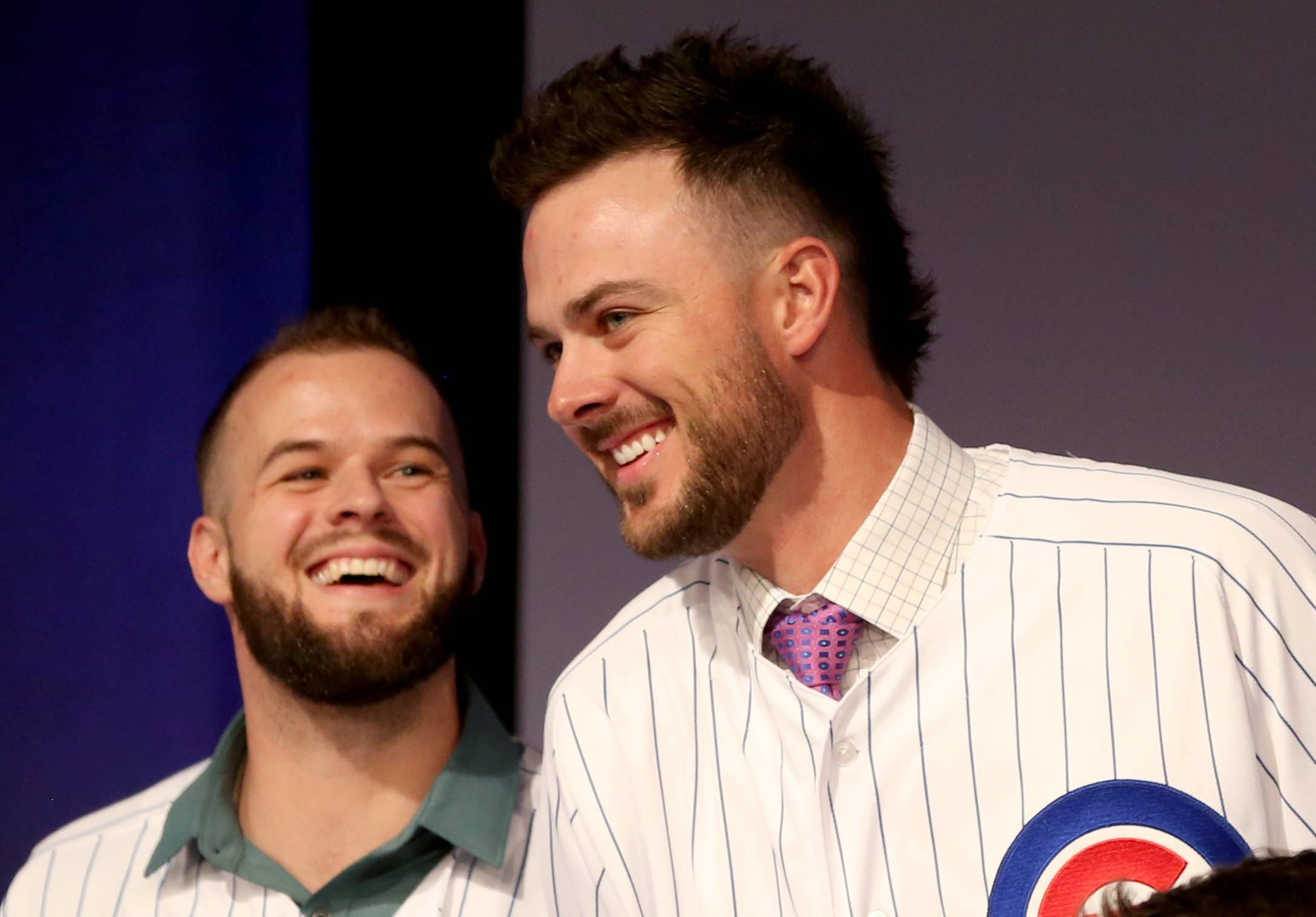 David Bote, left, shares a laugh with Kris Bryant during opening night Friday of the 2019 Chicago Cubs Convention at the Sheraton Grand in Chicago.