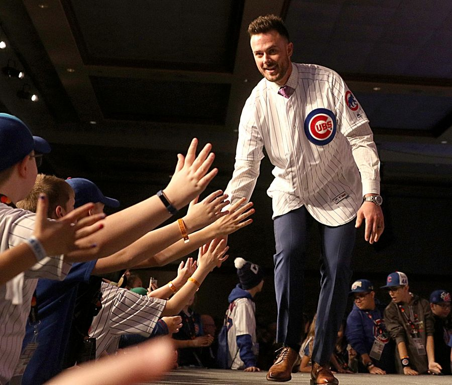 Kris Bryant is introduced during opening night Friday of the 2019 Chicago Cubs Convention at the Sheraton Grand in Chicago. The Chicago Cubs fan convention opened Friday, and team president Theo Epstein said he has heard loudly and clearly the concerns of the fans this off-season.