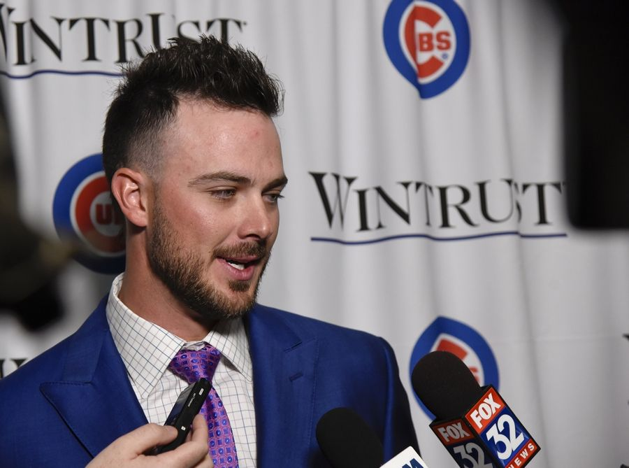 Chicago Cubs' Kris Bryant talks with the media during the baseball team's annual convention Friday, Jan. 18, 2019, in Chicago.