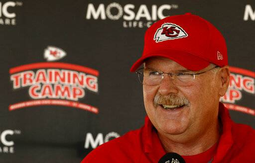 FILE - In this July 23, 2018, file photo, Kansas City Chiefs head coach Andy Reid talks to the media at NFL football training camp in St. Joseph, Mo. From the first day of training camp in August until deep into the NFL schedule, you hear it. Doesn't matter what city a team represents or who is coaching and playing for it, the bromide is the same. Win the division. So while it could be brutally cold at Arrowhead Stadium on Sunday, the Chiefs coveted that top seed. That meant pushing hard to win the AFC West as the first goal, then getting the No. 1 slot.