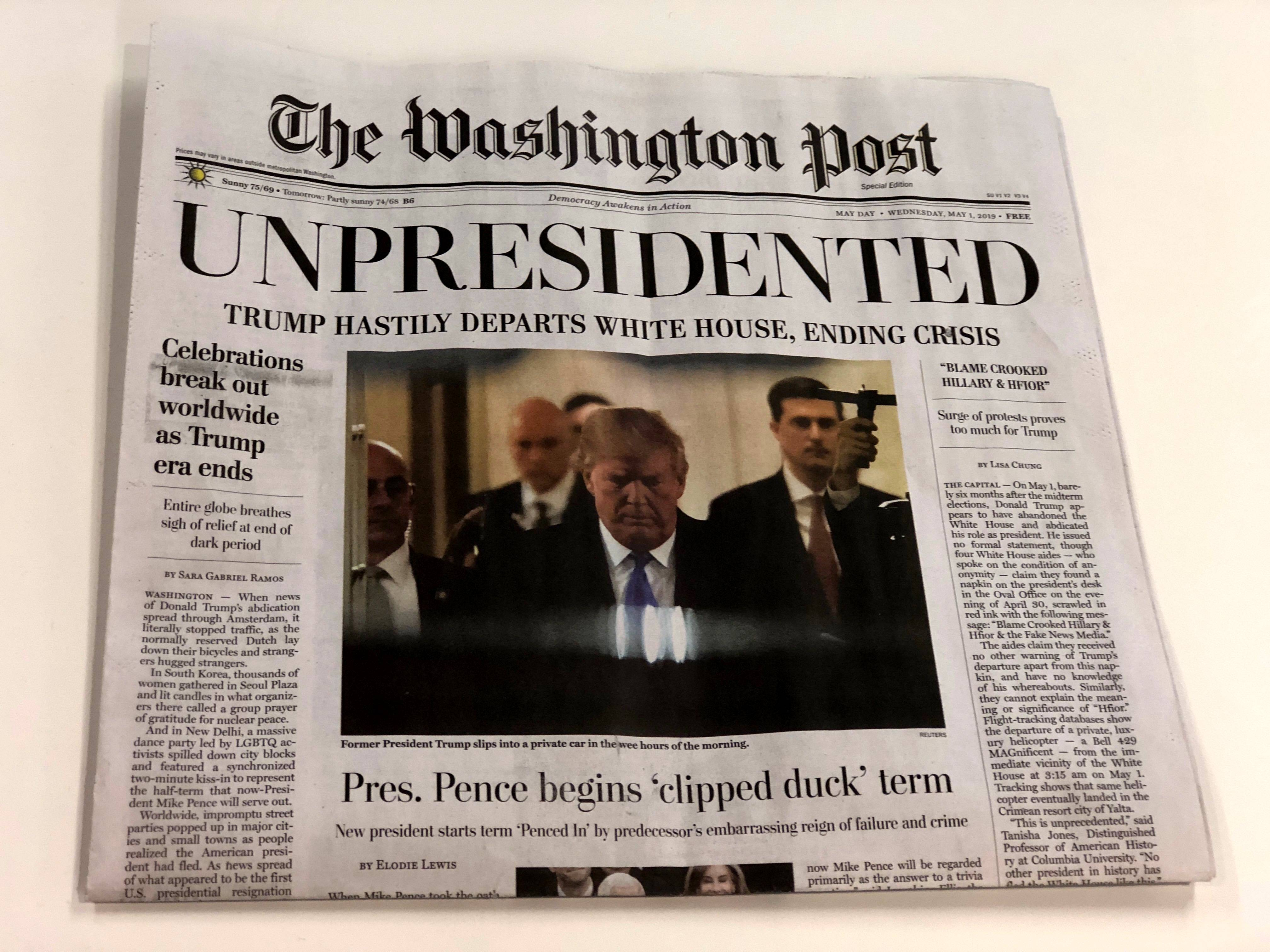 A fake edition of The Washington Post was distributed Wednesday on the streets of Washington, D.C.