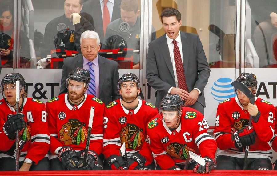 Chicago Blackhawks head coach Jeremy Colliton yells to his team during the third period of an NHL hockey game against the Nashville Predators Wednesday, Jan. 9, 2019, in Chicago.