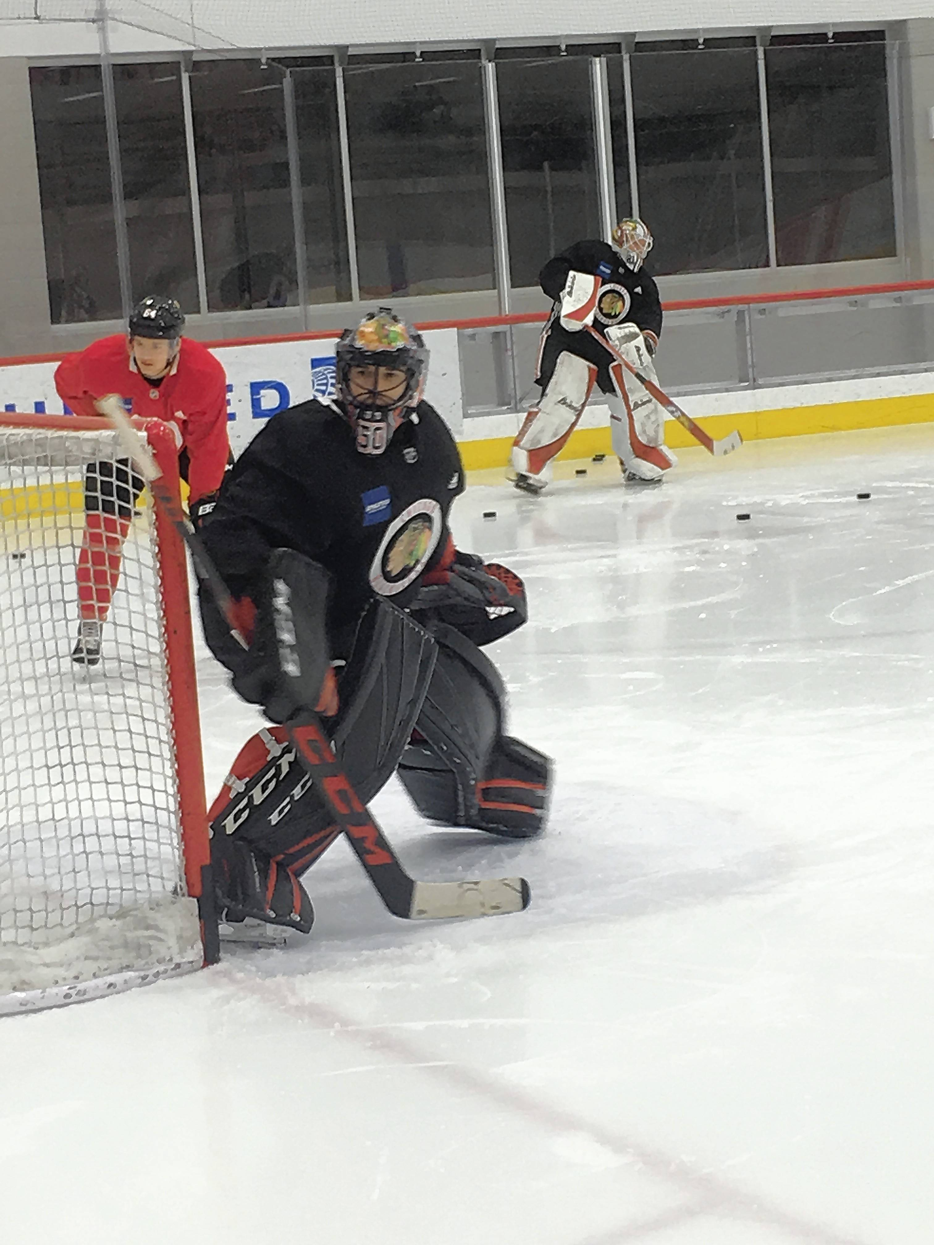 "Chicago Blackhawks goalie Corey Crawford returned to the ice before practice Saturday, but coach Jeremy Colliton said, ""I'm not sure it means a ton."""