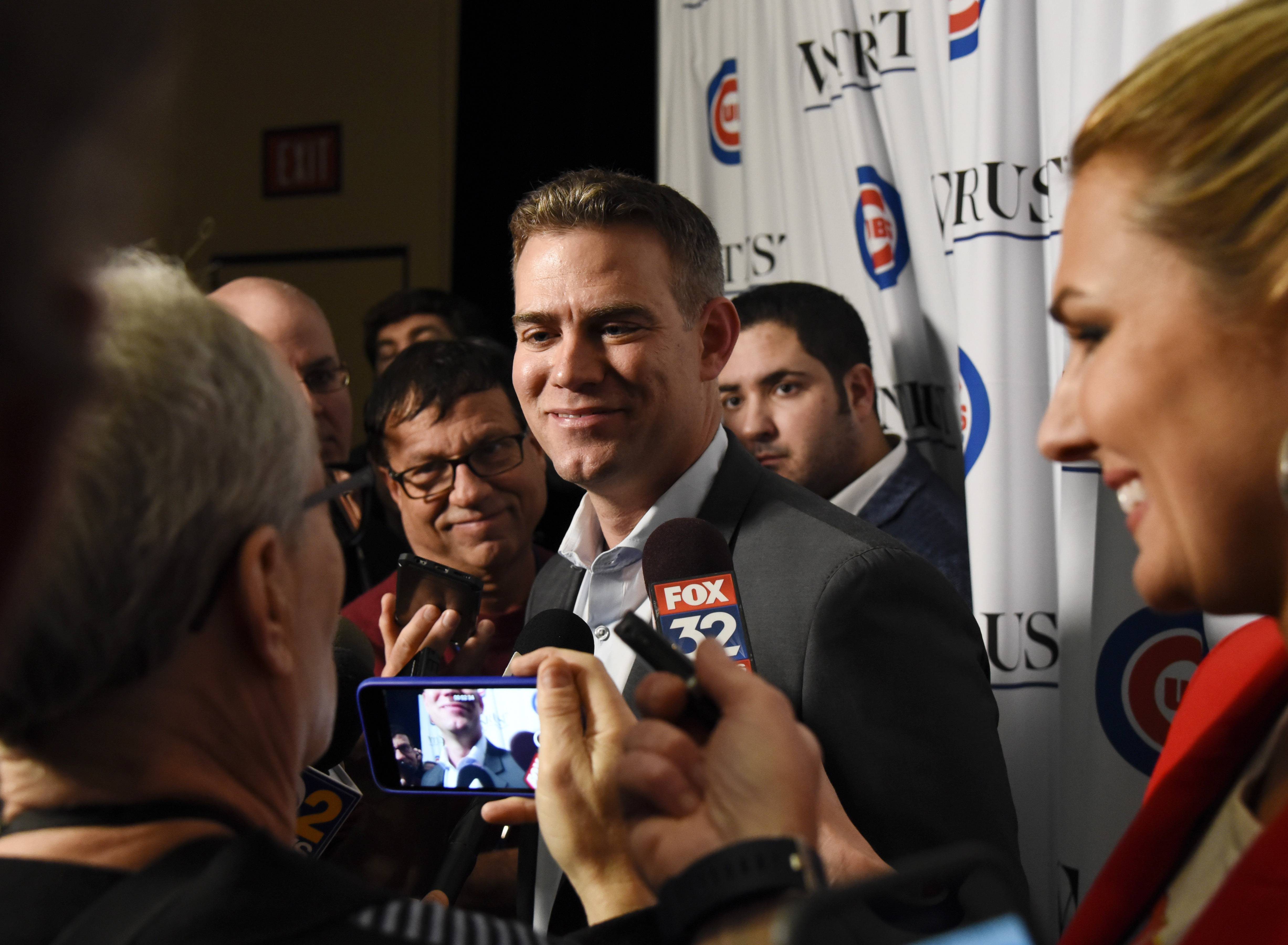 Chicago Cubs President Of Baseball Operations Theo Epstein Talks With The Media During The Teams