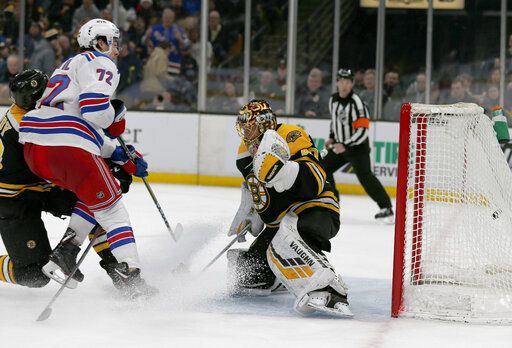 New York Rangers center Filip Chytil (72) scores a goal before colliding with Boston Bruins goaltender Tuukka Rask (40) during the first period of an NHL hockey game, Saturday, Jan. 19, 2019, in Boston.