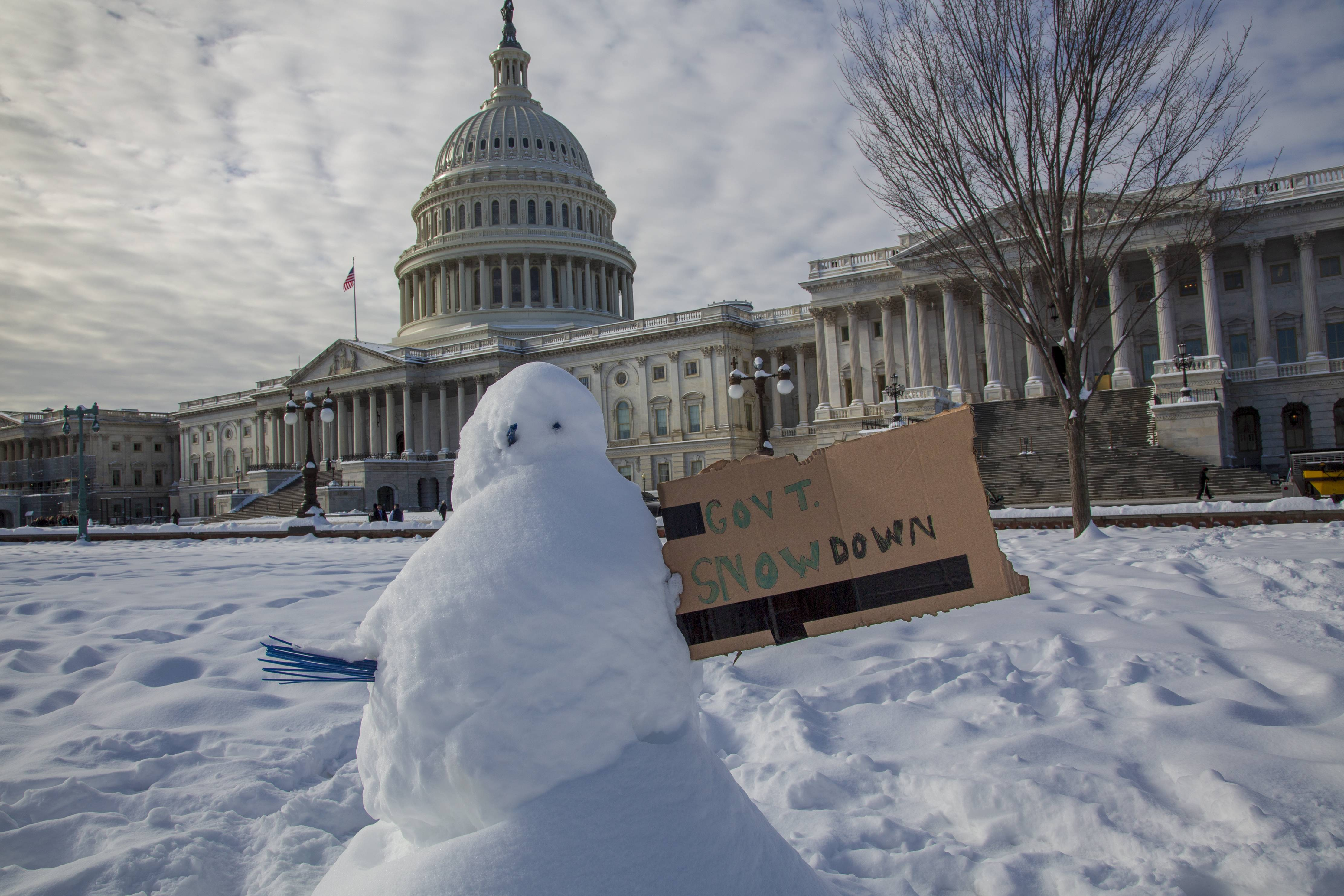 A snowman with a message is seen at the Capitol in Washington on the 24th day of a partial government shutdown, Monday, Jan. 14, 2019.
