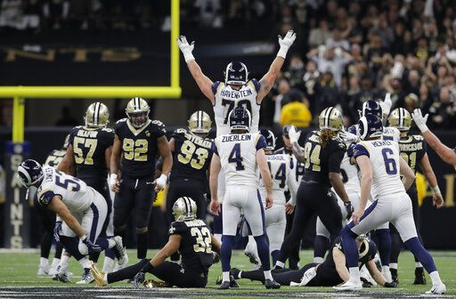 a81ddc76caeef Los Angeles Rams kicker Greg Zuerlein reacts after his game-winning field  goal in overtime
