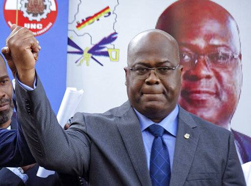 FILE - This Nov. 23, 2018, file photo shows Felix Tshisekedi of Congo's Union for Democracy and Social Progress opposition party, at a press conference in Nairobi, Kenya. Congo's Constitutional Court early Sunday, Jan. 20, 2019, declared the election of Tshisekedi as president, rejecting challenges to the vote by runner-up Martin Fayulu, who had alleged fraud. Tshisekedi, son of the late, charismatic opposition leader Etienne, is now set to be inaugurated on Tuesday.