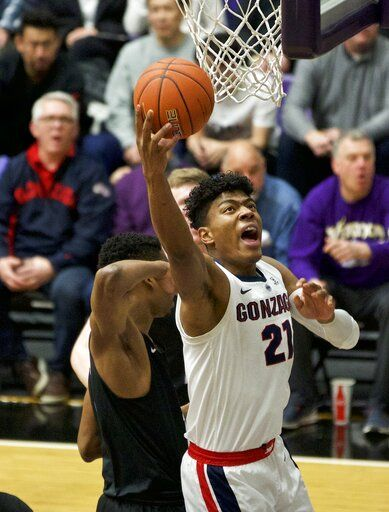 Gonzaga forward Rui Hachimura shoots against Portland during the first half of an NCAA college basketball game in Portland, Ore., Saturday, Jan. 19, 2019.