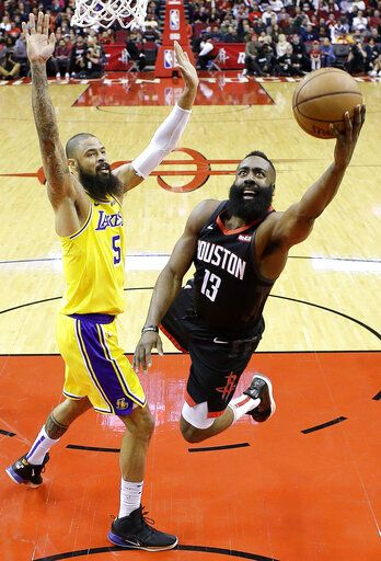 a64039a3c76 Houston Rockets guard James Harden (13) drives to the basket as Los Angeles  Lakers