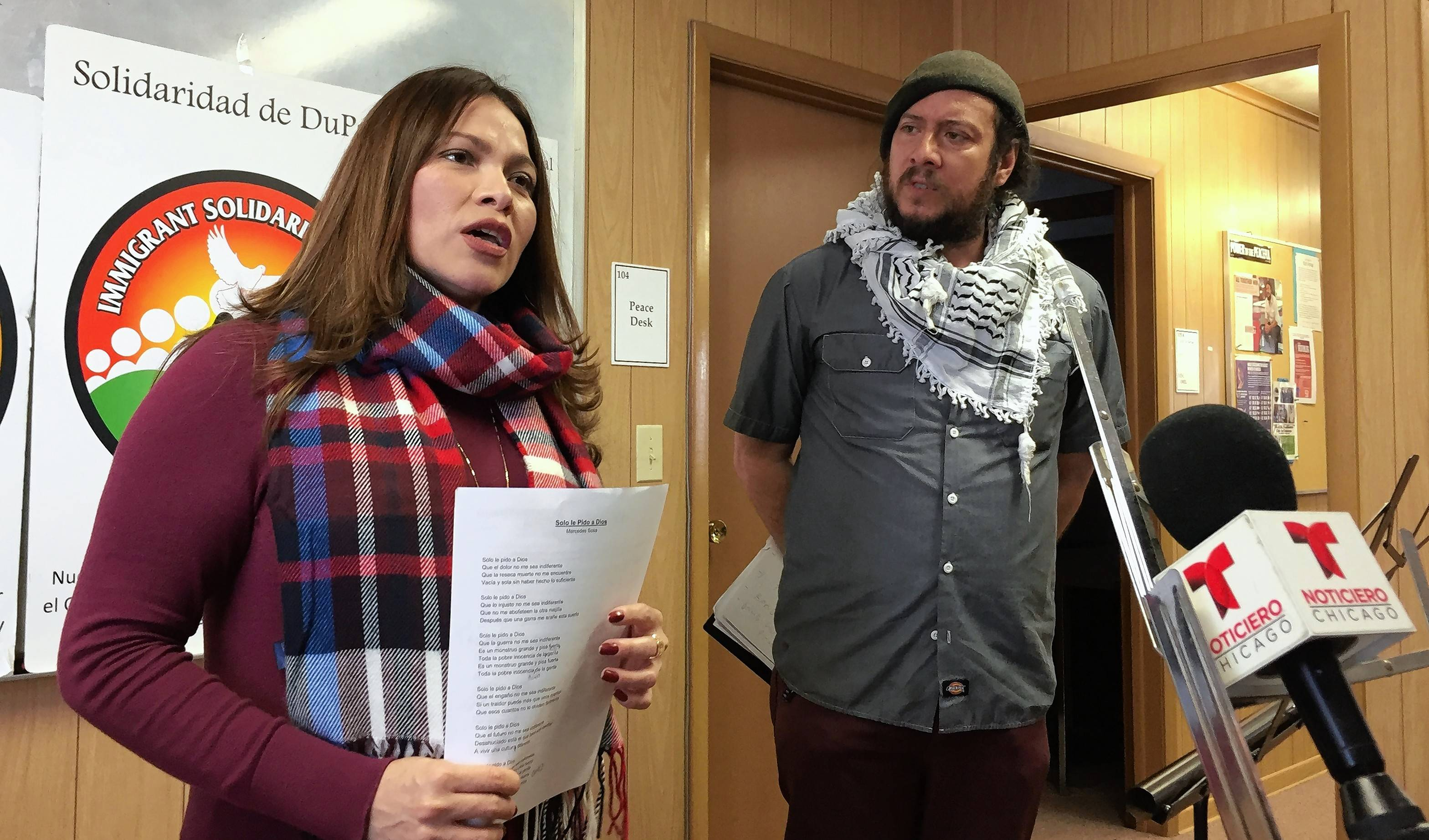 Gabriela Hernandez Chico and Cristobal Cavazos of Immigrant Solidarity DuPage talk about an effort to collect food, clothing and supplies for migrants at the U.S. border with Mexico.