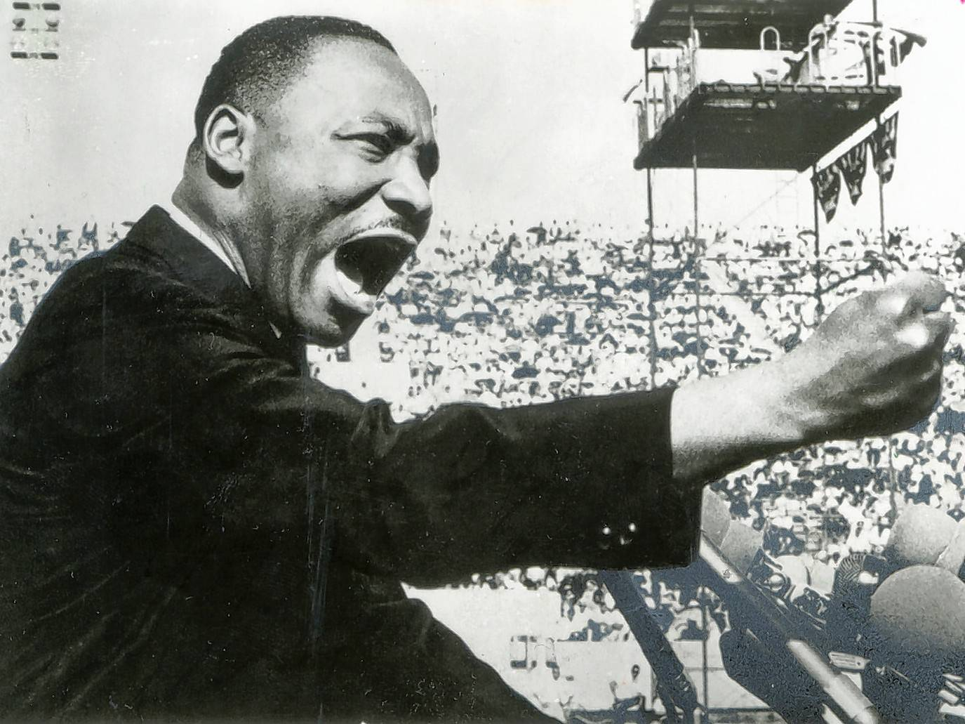 The Rev. Martin Luther King Jr. gives a speech at a Chicago Freedom Movement rally on July 10, 1966, at Soldier Field.