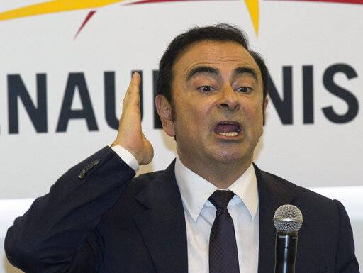 FILE - In this April 25, 2016, file photo, then Renault-Nissan's CEO Carlos Ghosn speaks during a press conference held at Auto China 2016 in Beijing, China. A court in Tokyo on Tuesday, Jan. 22, 2019 rejected former Nissan chairman Carlos Ghosn's latest request for bail, made more than two months after his arrest, prolonging a detention that has brought Japan's harsh justice system under international scrutiny. (AP Photo/Ng Han Guan, File)