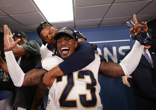 07ab17a2f14af Los Angeles Rams defensive back Nickell Robey-Coleman (23) celebrates in  the locker