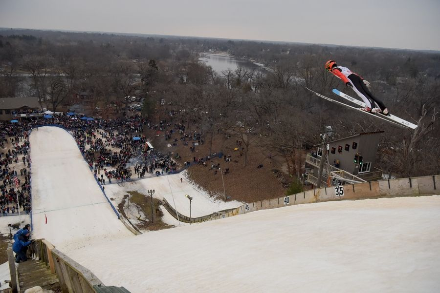 Niklas Malacinski makes a jump during the Norge Winter Ski Jump Tournament last year in Fox River Grove.