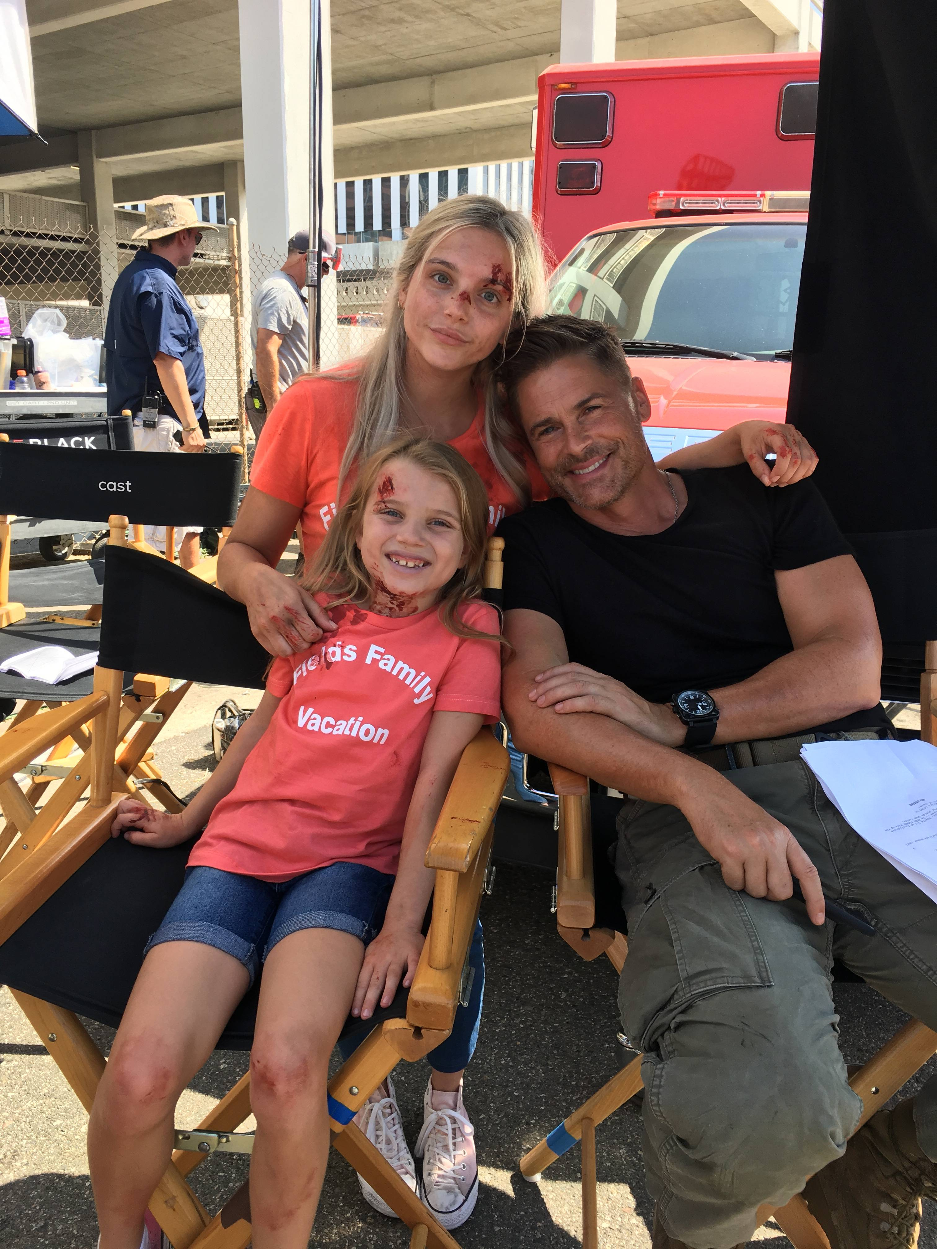 "Former Addison resident and actress Casimere Jollette on the set of ""Code Black"" with Rob Lowe. She appeared on the show as a guest star."