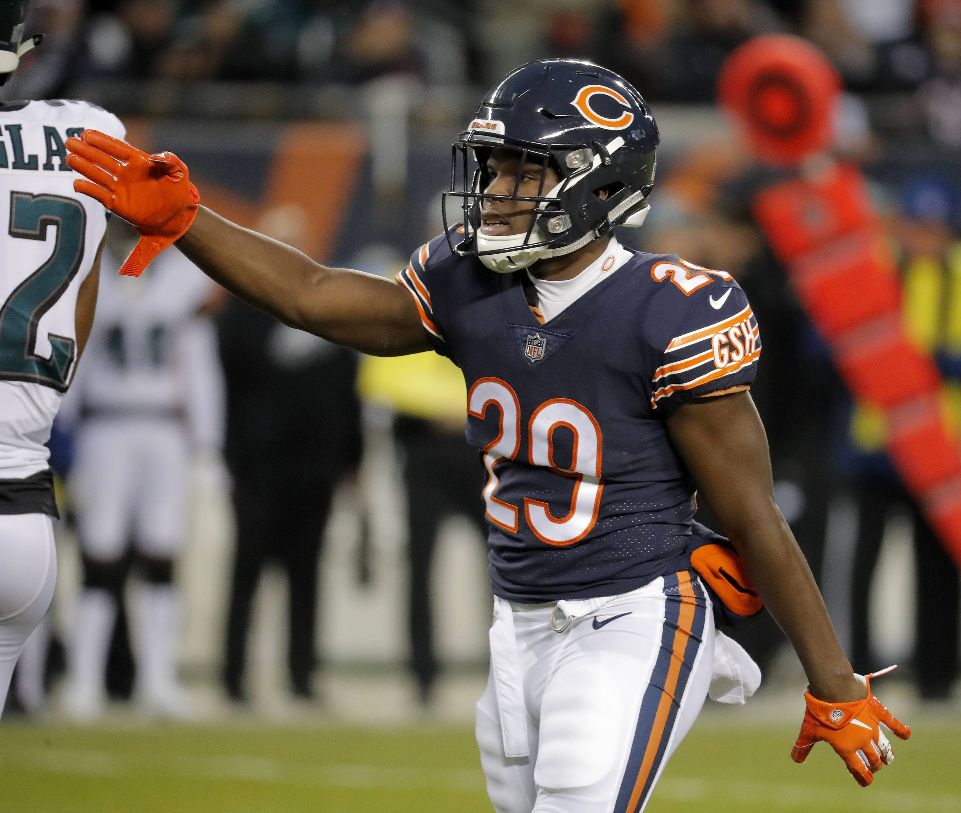 Chicago Bears running back Tarik Cohen signals a first down during the NFC wild card game Sunday, January 6, 2019 at Soldier Field in Chicago.