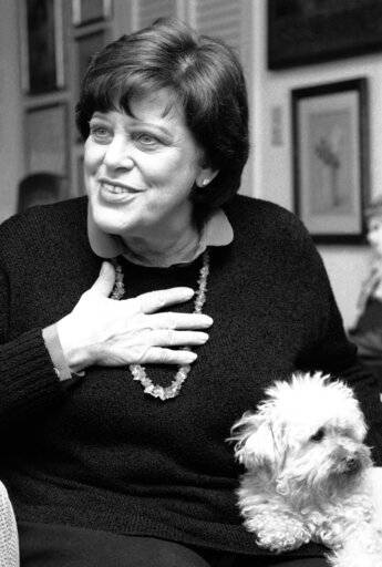 "FILE - In this Feb. 27, 1984 file photo, actress Kaye Ballard appears with her dog, Big Shirley during an interview in her New York apartment. Marguerite Gordon, a friend of Ballard says the actress of the TV series ""The Mothers-in-Law,� died Monday, Jan. 21, 2019, at her home in Rancho Mirage, Calif. she was 93. A boisterous comedian and singer as well as an actress, Ballard appeared in Broadway musicals and nightclubs from New York to Las Vegas."