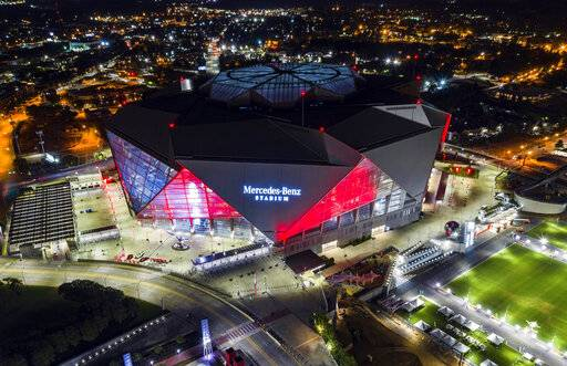 FILE - This is a Sept. 21, 2018, file photo showing Mercedes-Benz Stadium in Atlanta. Build it and the Super Bowl will come. While that's not exactly how the sites of the NFL's championship extravaganza are determined, it sure doesn't hurt to have a brand new, billion-dollar facility in your city.