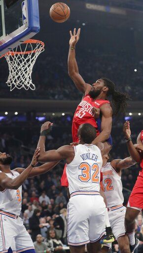 Harden scores career-best 61, Rockets edge Knicks 114-110
