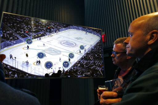 People watch real-time puck and player tracking technology on display during an NHL hockey game between the Vegas Golden Knights and the San Jose Sharks, in Las Vegas, Thursday, Jan. 10, 2019. The NHL for the first time has tested real-time puck and player tracking in regular-season games with the aim of having it ready for the 2019-20 season. Microchips were added to players' shoulder pads and fitted inside specially designed pucks for two Vegas Golden Knights home games this week: Tuesday against the New York Rangers and Thursday against the San Jose Sharks. Antennas stationed around the arena tracked the players and the puck through radio frequencies and beamed the data to a suite where league and Players' Association executives and representatives from 20 teams and various technology firms, sports betting companies and TV rights holders were on hand for the two nights of testing.