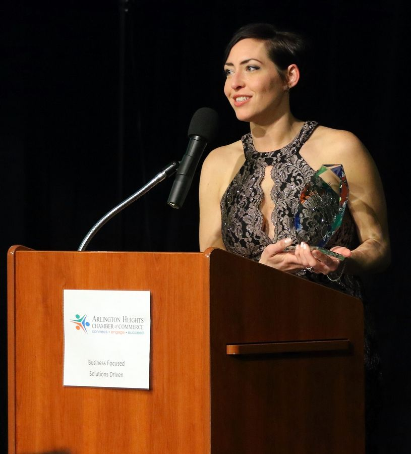 Jennifer Mallo, executive director of Waverly Inn Memory Care Community, accepts the Emerging Business of the Year award during the Arlington Heights Chamber of Commerce's 72nd annual awards and recognition gala Friday at Arlington International Racecourse.