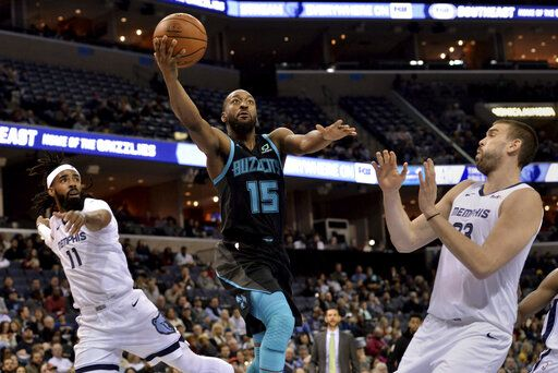 34aa715c0 Charlotte Hornets guard Kemba Walker (15) shoots between Memphis Grizzlies  guard Mike Conley (