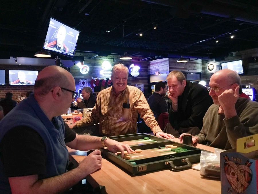 The Pub Club backgammon group, which meets every Thursday night in Villa Park, is gunning for its fourth straight state championship.