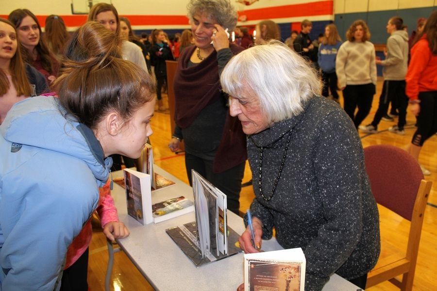 Holocaust survivor Edith Schumer visit eighth-graders at Hannah Beardsley Middle School in Crystal Lake to share her experience. Schumer was among more than 1,000 children rescued from the Holocaust as part of the One Thousand Children project.