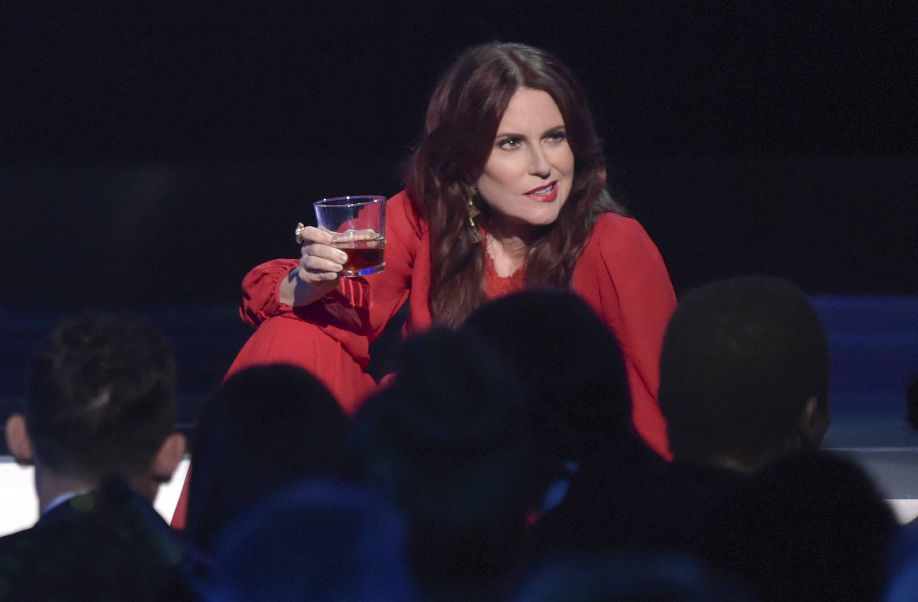 Host Megan Mullally performs a skit at the 25th annual Screen Actors Guild Awards at the Shrine Auditorium & Expo Hall on Sunday, Jan. 27, 2019, in Los Angeles. (Photo by Richard Shotwell/Invision/AP)