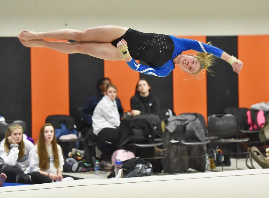 a8eef2551fa9 Lake Park's Paulina Lucer on the Floor Exercise at the Wheaton Warrenville  South Regional girls gymnastics