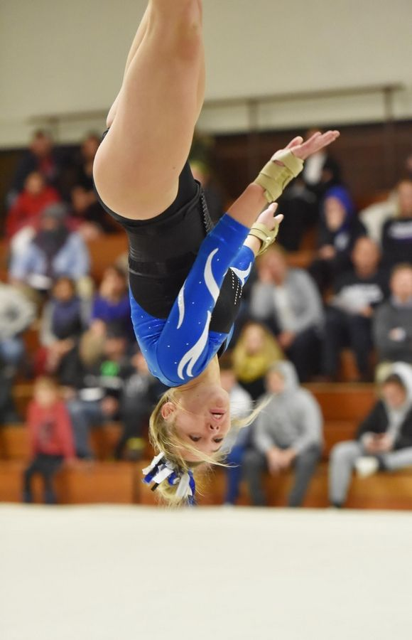 579de791cf32 Lake Park's Julia Naronowicz on the Floor Exercise at the Wheaton  Warrenville South Regional girls gymnastics