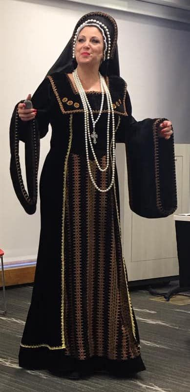 Martina Mathisen as Catherine of Aragon at Barrington Area Library.Courtesy of Signal Hill, NSDAR
