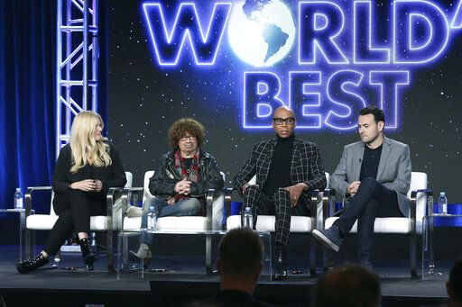 "Alison Holloway, from left, Mike Darnell, RuPaul and Ben Winston participate in the ""The World's Best"" show panel during the CBS presentation at the Television Critics Association Winter Press Tour at The Langham Huntington on Wednesday, Jan. 30, 2019, in Pasadena, Calif. (Photo by Willy Sanjuan/Invision/AP)"